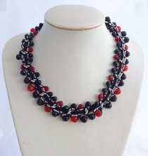 UNQUIE DESIGN HANDMADE BEADED TWISTED WITH SIAM&JET GLASS BASKETBALL BEADED VINTAGE SILVER CHUNKY CHOKER STATEMENT NECKLACE