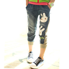 children girl's jeans,Stitching.bunny design.2014 New Arrival