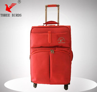 hot sales big room travel and shopping nylon fabric trolley bag with 4 universal slight wheels