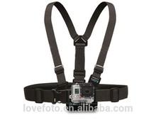2014 Hot selling Black Harness Adjustable Chest Body Belt Strap Mount For Gopro HD Hero 2/3