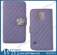 Phone Case for Galaxy Mobile S5 Leather Wallet for Galaxy S5 i9600 G900 Color Purple