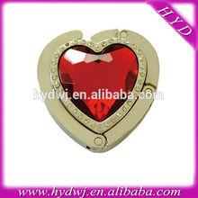 Metal heart shaped foldable crystal shopping bag holder