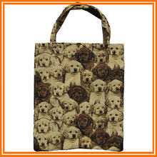 Polyester/cotton cute dogs tapestry foldable resuable shopping bags