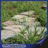 Eco-friendly grass lawn paving slate tiles irregular shape random rusty stone