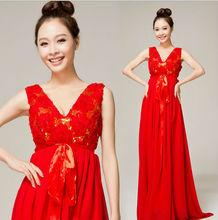 Z60523W RED PREGNANT WEDDINGD RESS V-COLLAR WEDDING DRESS