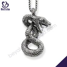 Snake engraved sterling silver marcasite eminem necklace