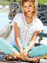 2014 de la alta calidad del nuevo diseño elegante blusas en encaje guangzhou por