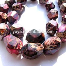 SM3075 Purple Faceted Terra imperial jasper nugget beads