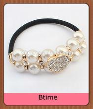 Cheap hair accessories pearl&rhinestone women elastic bands&Hair bands