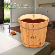 special design wooden foot soaking bucket, vapour blasting foot massage wooden foot bath bucket