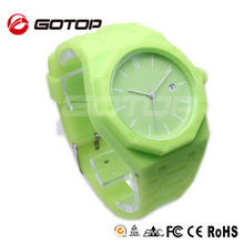 Alibaba express wide wrist band lime green watch japan movt water resistant