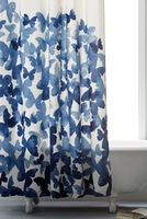 Butterfly design and simple blue shower curtain, bathroom accessories