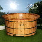 outdoor wooden bathtub, wooden freestanding outdoor barrel bathtub can be used as garden pond