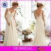 White Chiffon V Neck Lace Bodice Low Back Western Wedding Bridesmaid Dresses(ED-BN43)