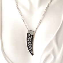Black and Silver Vine Horn Tusk Stainless Steel Pendant with Invisible Bail