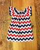 Girls Patriotic Peasant Dress July 4th Red white navy blue chevron summer cotton dress