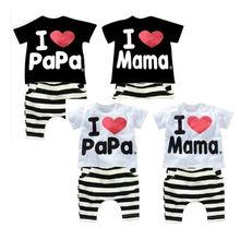 Korean summer Children Clothing Set Boys Girls I Love Papa and Mama Short Sleeve T-shirt + Pants Suit Kids Pajamas Set SV001838