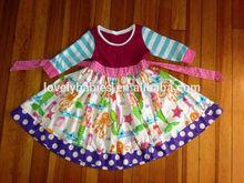 2014 Wholesale cotton mermaid printed ruffled kids dress frocks