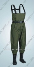 2012 best seller waterproof PVC high quality fishing waders clothing with belt buckles vulcanize rubber shoe