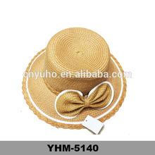 Cor natural big bowknot decorado palha balde chapéu atacado