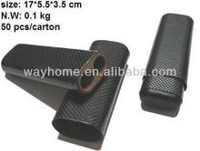 Black Carbon Fiber Cigar Holder fibre Travel Case 3 Cedar Wood Tube