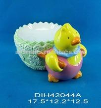 Ceramic chicken with egg holder