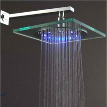 Glass Rainfall LED Shower Head, The Color Will Change in Different Water Temperature