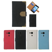 Diamond magnetic Leather wallet flip mobile phone case cover for Sony Xperia SP M35H