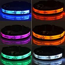 LED light pet dog collar nylon glow flashing light safety adjustable leash