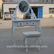 Elegante de madera color blanco aparador con espejo k/estilo d un juego de escritorio y una silla t10-6112