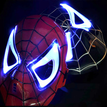 2014 New marvel avengers spider man mask helmet LED light up eye face mask masquerade costume cosplay Halloween party child toy