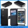 For Apple IPhone 5 & 5S Luxury Pressure Leather Wallet Case/iphone 5 case