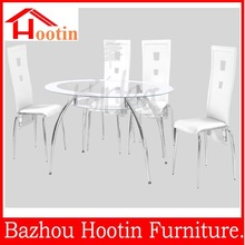 modern high quality round glass top dining table with metal leg for dining room kitchen living room