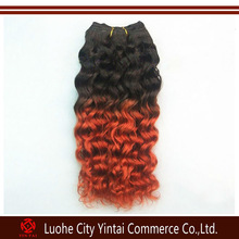 100% Human chinese remy Hair two tone mix color deep wave ,ombre colored two tone virgin hair wave