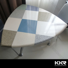 Creative seamless joint solid surface 3 person solid surface coffee table