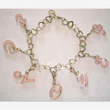 2014 bulk metal chain sweetie letter charm bracelet (XWS-1317)