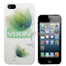 Beautiful Lotus Flowers pattern Shining Diamond Case For iPhone 5S/5 Hard Case