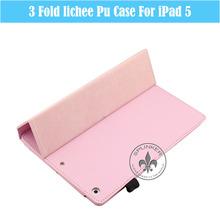 3-Fold Lichee PU Leather Case Cover For iPad Air U1707-92