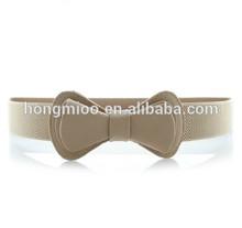 lady's wide belt flower elastic stretch pu leather belt summer women's belt