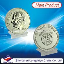 3D Relief custom logo design souvenir coin producer,silver metal coin medal maker,large medallion coin manufacturer