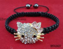 Braided bracelet with alloy diamond kitty