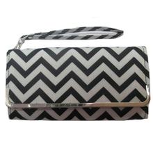Black and white chevron print zig zag print chevron wallet chevron day clutch bag