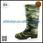 Men cheap knee high work boots camo latex rubber boot
