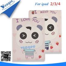 china panda cartoon leather skin case for ipad 2 3 4