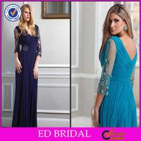 EDM057 Atractive Long Chiffon Lace Sleeve Mother of the Bride Beach Wedding Dress