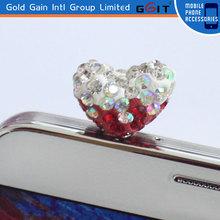 High Quality Heart Design Dust Plug Ear Jack Plug For Mobile Phone Anti-Dust Plug
