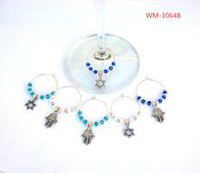 WM-10648 silver Hamsas, Star of David, Jewish wine glass charms, Hanukkah wine charms