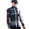 compressão camisas para homens camisa xadrez de manga comprida