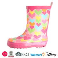 2014 children sweet heart rubber boots