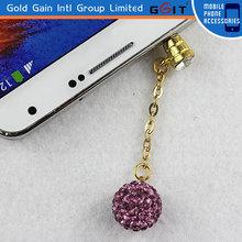 Elegant Purple Chained Ball Dustproof Earphone Plug For Mobile Phone 3.5mm Dustproof Plug